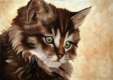 oil painting: Little cat