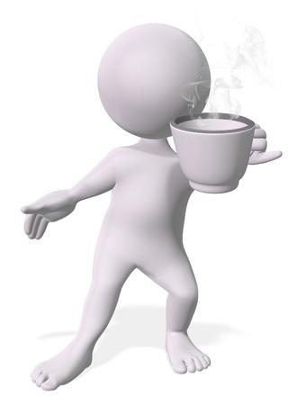 hombre tomando cafe: Feliz el hombre el consumo de caf� o t� Foto de archivo