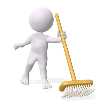 Domestic cleaning: 3D little man holding broom Stock Photo