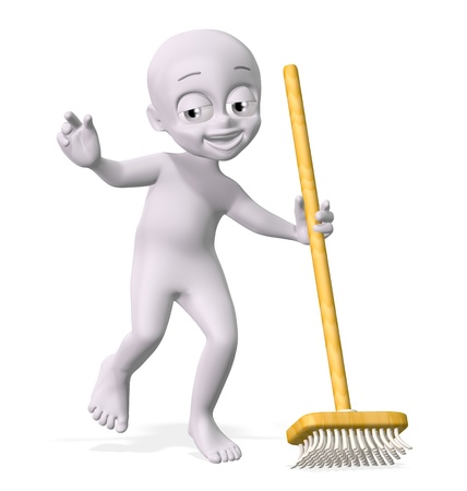 3D little man holding sweep Stock Photo
