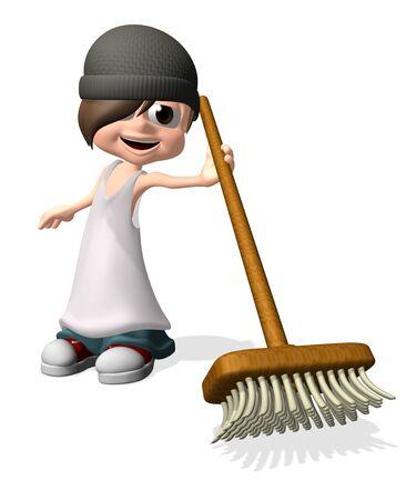 Man holding sweep brush