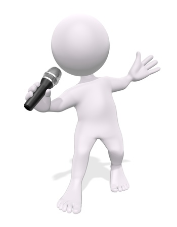 3D man with a microphone on a white background photo