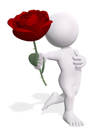 Cute 3D character with a rose Stock Photo