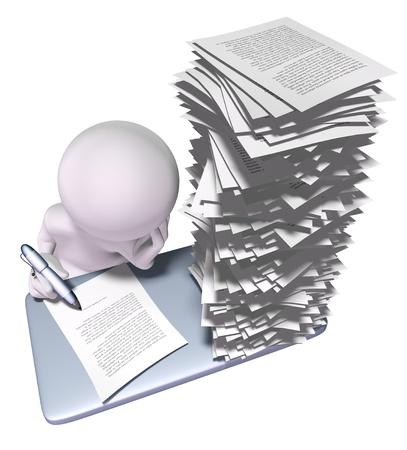 3d man avec la pile de papiers sur son bureau Banque d'images