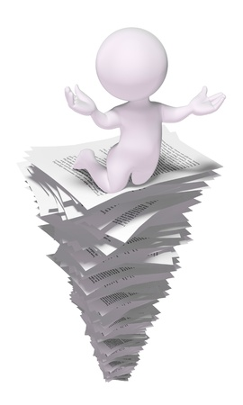 Overworked employee on a stack of papers
