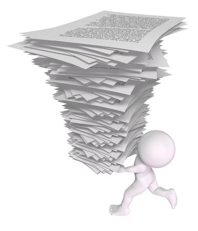 L'homme 3d fonctionne avec une pile de papiers