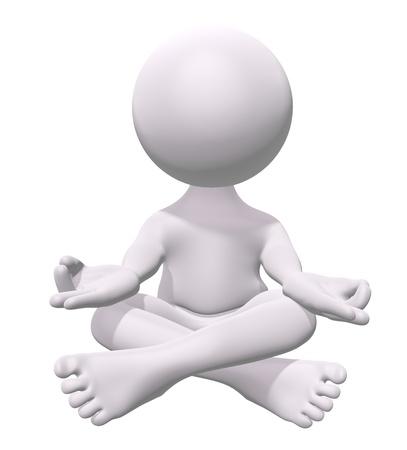 buddha tranquil: 3D man practicing zen meditation