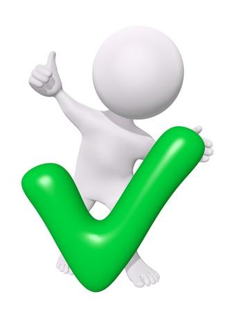 garrapata: Hombre 3D con marca de verificación verde Foto de archivo