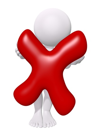 check symbol: 3d man with red check mark