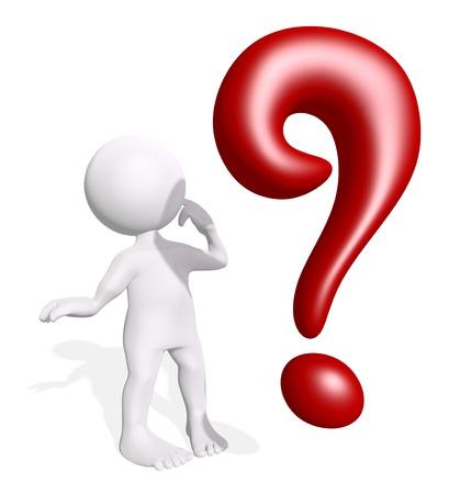 punto interrogativo: 3D uomo con un punto interrogativo rosso
