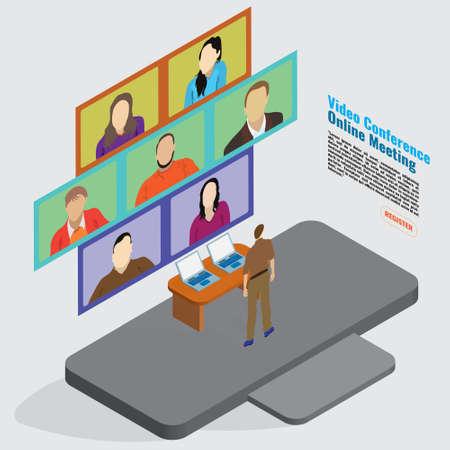 3D illustration Flat Design concept Video Conference Online meeting Stock fotó - 155875508