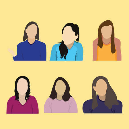 Collection of online webinar vector illustrations of woman