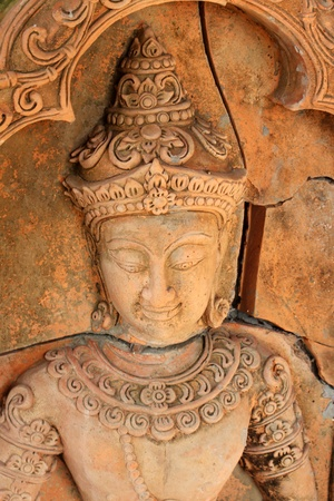 Thai low relief carvings art for decorate photo