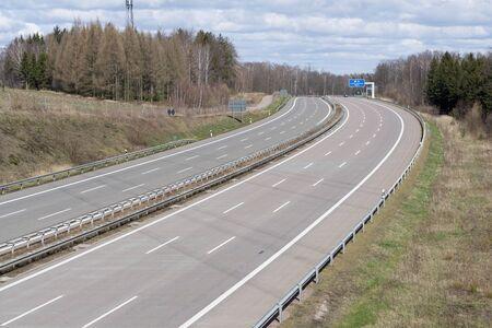 Empty A4 motorway near Rabenstein during the Corona Lockdown