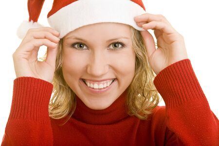 Young woman with turtleneck sweater and a red hat photo