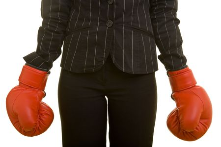 Person with jacket and red boxing gloves photo