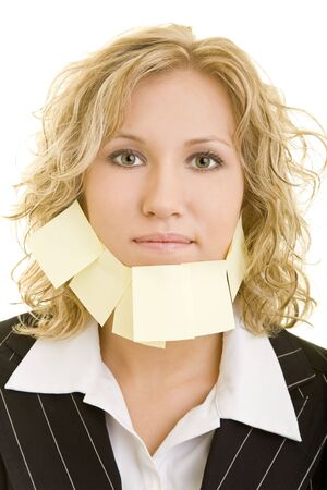 beard woman: Blonde business woman with a beard made of adhesive notes