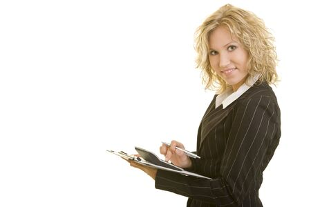 Blonde business woman with calculator and a clipboard photo