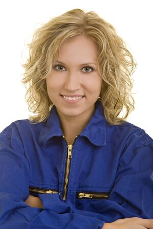 boiler suit: Young woman in a blue boiler suit