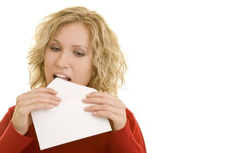 letter envelope: Blonde woman licking an envelope