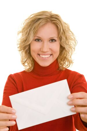 letter envelope: Blonde woman holding an envelope