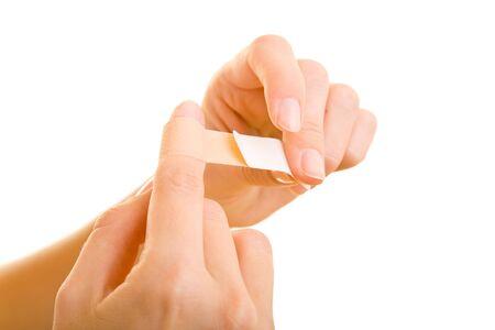 dedo indice: La aplicaci�n de las manos de una banda de ayuda para el dedo �ndice