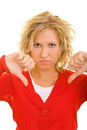 Blonde woman holding her two thumbs down Stock Photo - 4085214