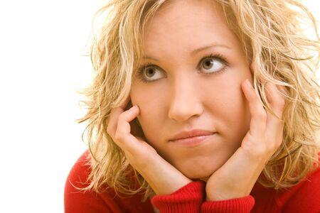 인내: Blonde woman waiting with patience