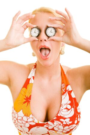blond woman holding two watches in front of her eyes Stock Photo - 4278528