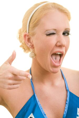 pierced: Blonde woman winking with her eye Stock Photo