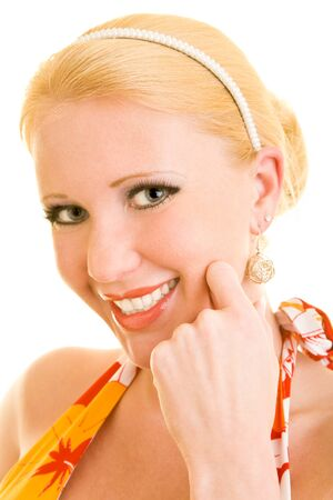 Portrait of a blonde woman laughing photo