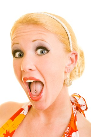 Blonde woman with red lipstick screaming Stock Photo