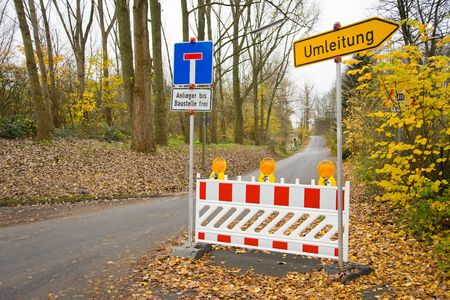 redirection: Road blocking with redirection on a street in Germany