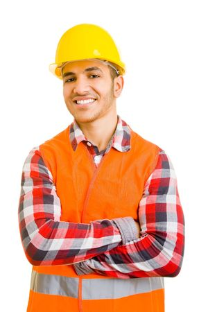 Portrait of a young construction worker photo