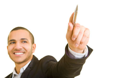Man smiling and holding a pen photo