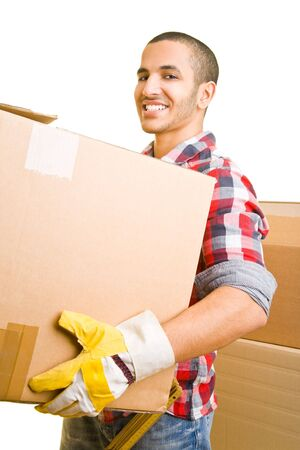 Young mover carrying packing cases Stock Photo - 4851841