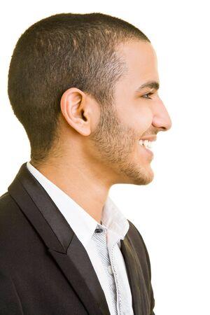 hombre de perfil: Sonriente hombre de negocios en la vista lateral