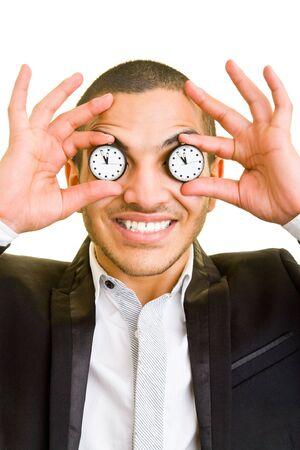 Feliz celebración de relojes gerente delante de sus ojos Foto de archivo