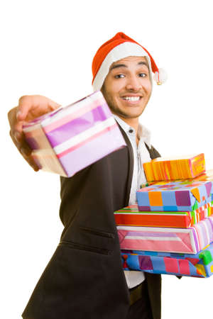 Happy business man offering gifts photo