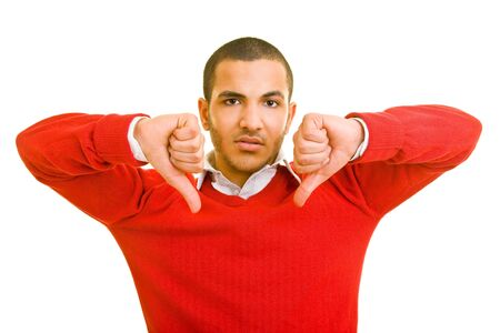 Man holding two thumbs down photo