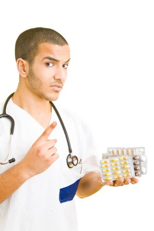 adverse: Doctor holding pills warning of adverse reactions