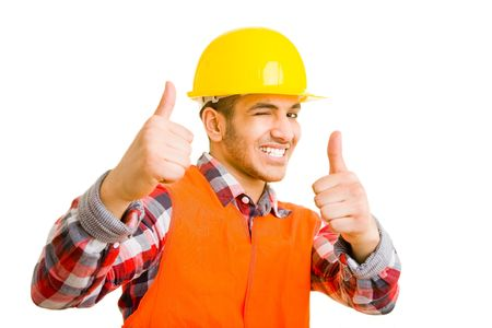 Construction worker holding his thumbs up and winking with his eye photo