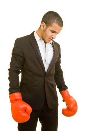 Business man with red boxing gloves photo