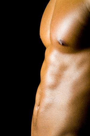 naked african: Abdominal muscles of a young male