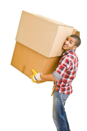Young man carrying huge boxes photo