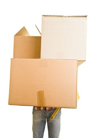 Man carrying huge cardboard boxes photo