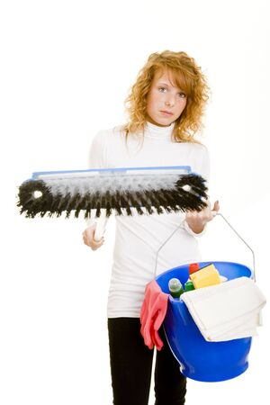 Young woman showing a mop Stock Photo - 5138468