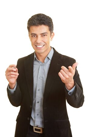 Business man gesticulating while holding a speech Stock Photo - 5261932