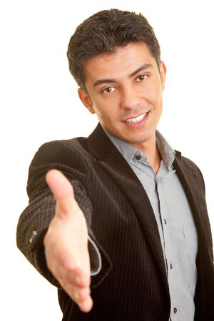 likeable: Businessman reaching out with his open hand Stock Photo