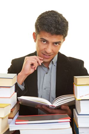 industriousness: Man learning with many books
